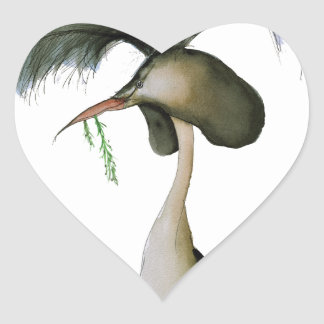 great crested grebe, tony fernandes heart sticker