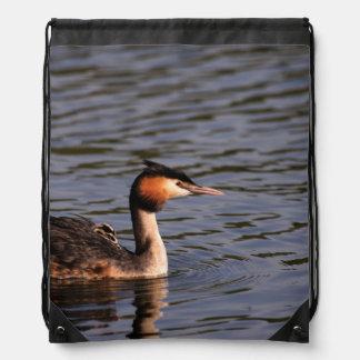 Great crested grebe with chick on back drawstring backpack