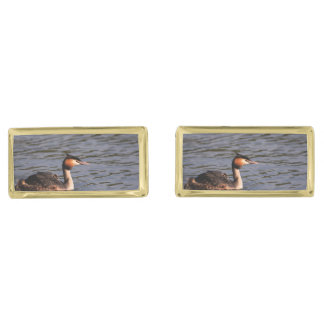 Great crested grebe with chick on back gold cufflinks