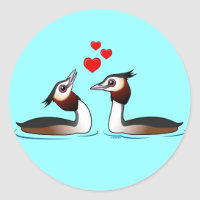 Great Crested Grebes in Love Round Sticker