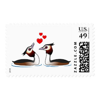 Great Crested Grebes in Love Postage Stamp