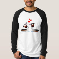 Great Crested Grebes in Love Men's Canvas Long Sleeve Raglan T-Shirt