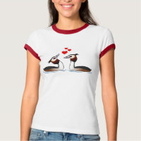 Great Crested Grebes in Love Ladies Ringer T-Shirt