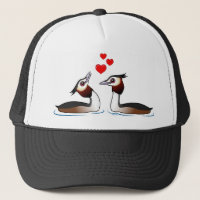 Great Crested Grebes in Love Trucker Hat