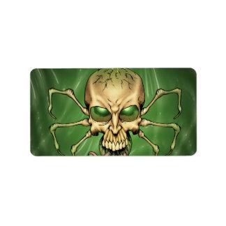 Great Cthulhu Alien Spider Skull Lovecraftian Art Label