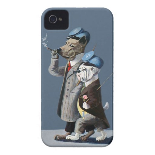 Great Dane and Bulldog - Funny Vintage Dogs iPhone 4 Cover
