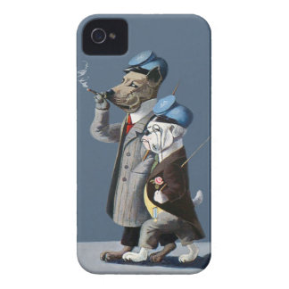 Great Dane and Bulldog - Funny Vintage Dogs iPhone 4 Case-Mate Cases