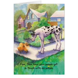 Great Dane and Pomeranian - Funny Birthday Card