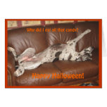 Great Dane Ate Too Much Halloween Candy Card