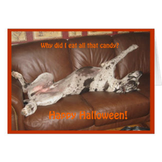 Great Dane Ate Too Much Halloween Candy Cards