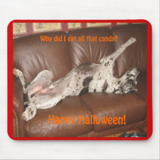 Great Dane Ate Too Much Halloween Candy Mousepads