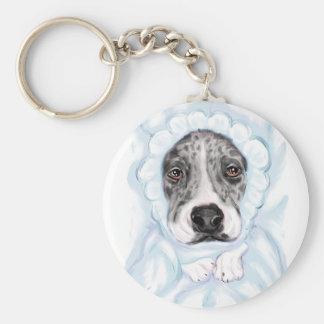 Great Dane Baby Mantled Merle Boy Basic Round Button Keychain