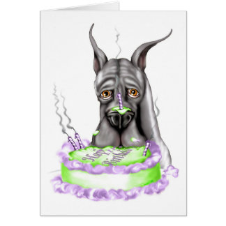 Great Dane Black Birthday Cake Face Card