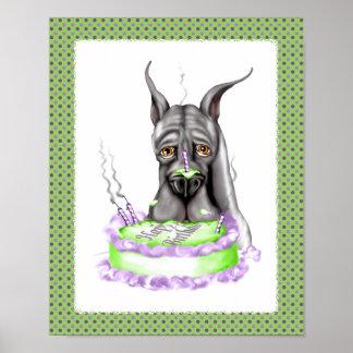 Great Dane Black Birthday Cake Face Poster