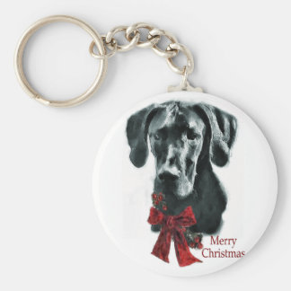 Great Dane Black Christmas Gifts Keychain