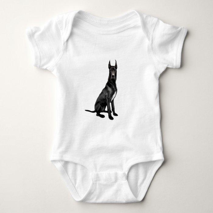 Great Dane - Black (cropped ears) Baby Bodysuit