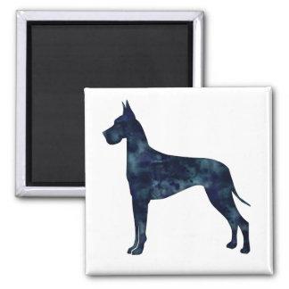 Great Dane Black Watercolor Silhouette 2 Inch Square Magnet