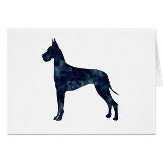Great Dane Black Watercolor Silhouette Card