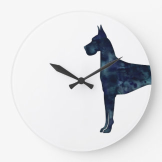 Great Dane Black Watercolor Silhouette Large Clock