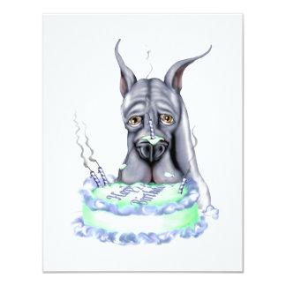 Great Dane Blue Birthday Cake Face Card