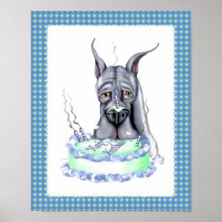 Great Dane Blue Birthday Cake Face Poster