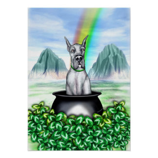 Great Dane Blue Pot O Gold Poster