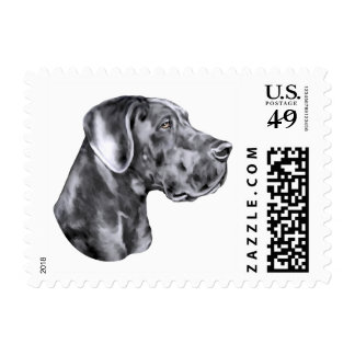 Great Dane Blue Uncropped Stamps