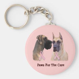 Great Dane Breast Cancer Keychain