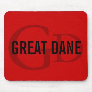 Great Dane Breed Monogram Design Mouse Pad