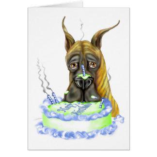 Great Dane Brindle Birthday Cake Card