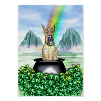 Great Dane Brindle Pot O Gold Poster