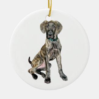 Great Dane Brindle Puppy Ceramic Ornament