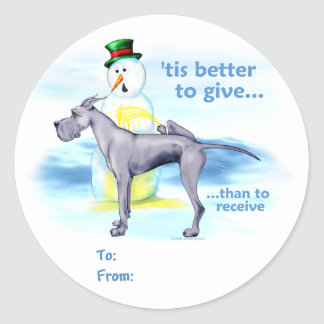 Great Dane BTG Blue Gift Tags Classic Round Sticker