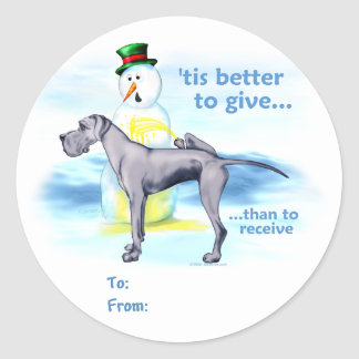 Great Dane BTG Blue UC Gift Tags Classic Round Sticker