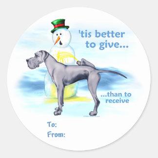 Great Dane BTG Blue UC Gift Tags Round Sticker