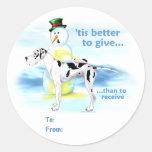 Great Dane BTG Harlequin UC Gift Tags Sticker