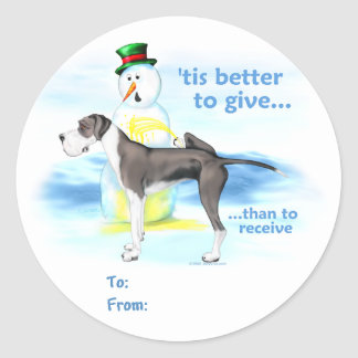 Great Dane BTG Mantle UC Gift Tags Classic Round Sticker