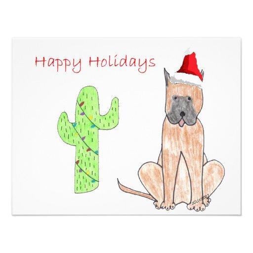 Great Dane Cactus Christmas Invitation