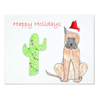 Great Dane Cactus Christmas 4.25x5.5 Paper Invitation Card