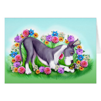 Great Dane Chasing Butterflies Mantle Card