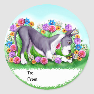 Great Dane Chasing Butterflies Mantle Classic Round Sticker