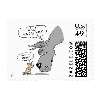 Great Dane & Chihuahua Blue Postage
