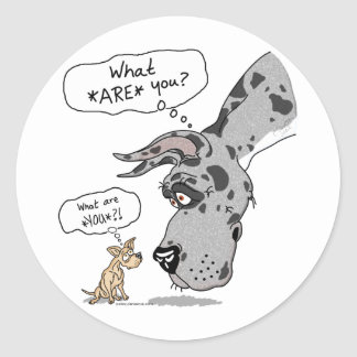 Great Dane & Chihuahua Merle Classic Round Sticker