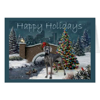 Great Dane Christmas Card Evening