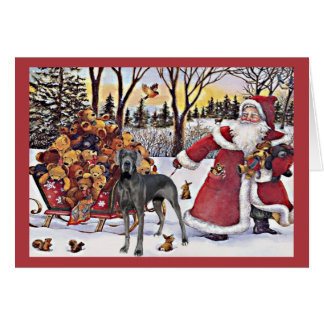 Great Dane Christmas Card Santa Bears