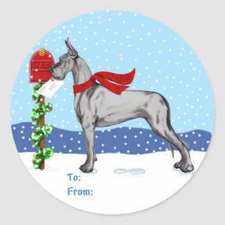 Great Dane Christmas Mail Black Gift Tags Stickers