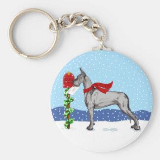 Great Dane Christmas Mail Black Keychain