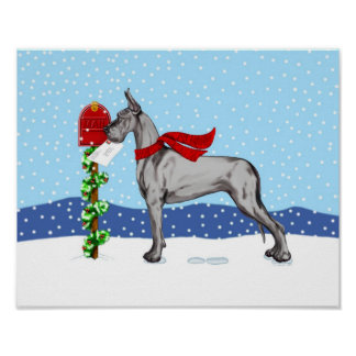 Great Dane Christmas Mail Black Posters