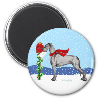 Great Dane Christmas Mail Black UC 2 Inch Round Magnet
