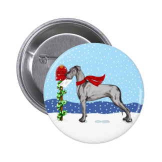 Great Dane Christmas Mail Black UC Button